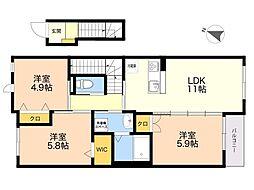 (仮称)四箇6丁目新築賃貸アパート 2階3LDKの間取り