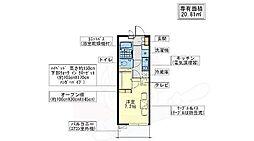 大阪モノレール彩都線 豊川駅 徒歩5分の賃貸マンション 2階1Kの間取り