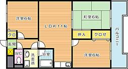 福岡県北九州市若松区東二島2丁目の賃貸マンションの間取り