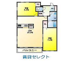 楓雅24[402号室]の間取り
