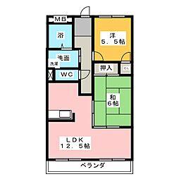 ビューネ桜井[1階]の間取り