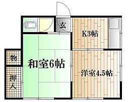 鈴木アパート[2F手前号室]の間取り