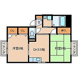 ディアス塚口[2階]の間取り