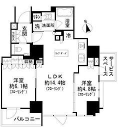 パークリュクス虎ノ門 11階2LDKの間取り
