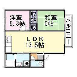 兵庫県加古川市加古川町篠原町の賃貸アパートの間取り