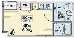 西武新宿線 下落合駅 徒歩3分の賃貸マンション 1階ワンルームの間取り