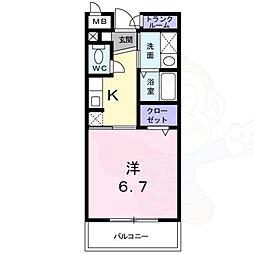 サニーハウス小戸 3階1Kの間取り