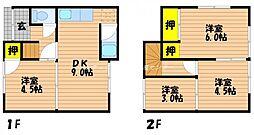 [一戸建] 岡山県岡山市南区若葉町 の賃貸【/】の間取り