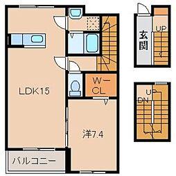 JR阪和線 紀伊駅 バス10分 中黒北下車 徒歩5分の賃貸アパート 3階1LDKの間取り