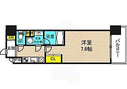 阪神本線 野田駅 徒歩5分の賃貸マンション 6階1Kの間取り