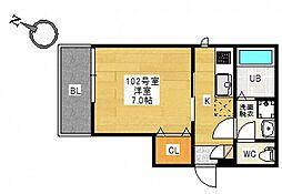 広島電鉄宮島線 草津駅 徒歩7分の賃貸アパート 2階1Kの間取り