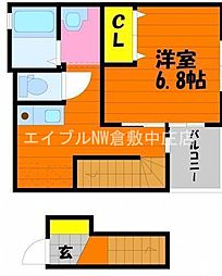 JR山陽本線 新倉敷駅 徒歩13分の賃貸アパート 2階1Kの間取り