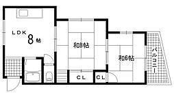 兵庫県神戸市北区鈴蘭台東町2丁目の賃貸マンションの間取り