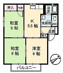 広島県三原市明神1丁目の賃貸アパートの間取り