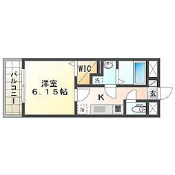 阪急宝塚本線 服部天神駅 徒歩8分の賃貸アパート 1階1Kの間取り