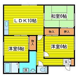 北海道札幌市東区北十九条東8丁目の賃貸アパートの間取り