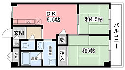 津門川ハイツ[402号室]の間取り