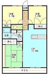 コーナス・ガーデンB棟[2階]の間取り