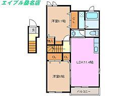 三重県桑名市長島町出口の賃貸アパートの間取り