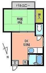 東京都調布市上石原1丁目の賃貸アパートの間取り