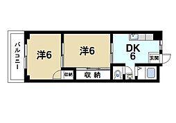 奈良県奈良市富雄元町4丁目の賃貸マンションの間取り