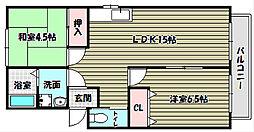 大阪府富田林市小金台2丁目の賃貸アパートの間取り