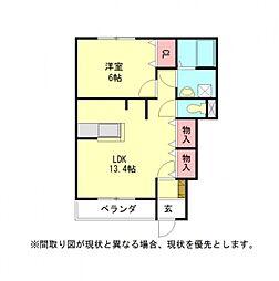 愛知県一宮市北小渕字南切の賃貸アパートの間取り