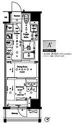 都営大江戸線 門前仲町駅 徒歩5分の賃貸マンション 8階1DKの間取り