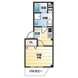 GEIOT新大阪 3階1Kの間取り