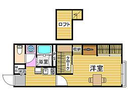 レオパレス田村[2階]の間取り