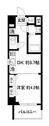 エステムコート京都東寺朱雀邸 3階1DKの間取り