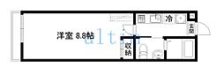 アークリード本町三十三間堂 2階1Kの間取り