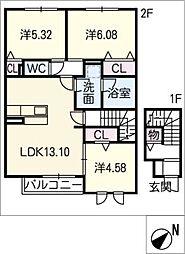 仮)D−room元植田[2階]の間取り