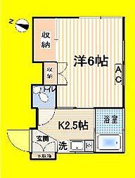 東京都中野区本町5丁目の賃貸アパートの間取り