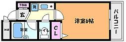 阪神本線 西灘駅 徒歩1分の賃貸マンション 3階1Kの間取り