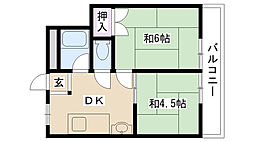 摂津第5マンション[203号室]の間取り