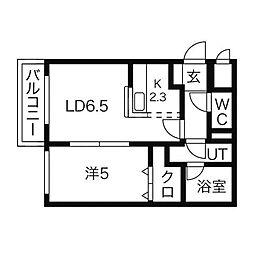 ローズロイN28[4階]の間取り