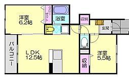 サニーフラット弐番館 1階2LDKの間取り