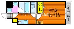 JR宇野線 大元駅 徒歩6分の賃貸マンション 8階1Kの間取り