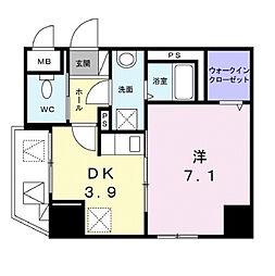 JR山陽本線 福山駅 徒歩8分の賃貸マンション 1階1DKの間取り
