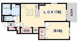 神鉄粟生線 小野駅 徒歩24分の賃貸アパート 1階1LDKの間取り