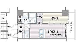 マリアヴィラ高宮 2階1LDKの間取り