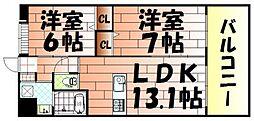 ウイングス三萩野[4階]の間取り