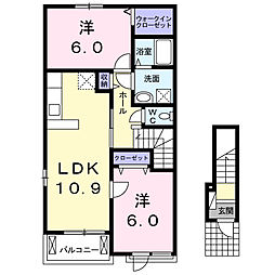茨城県龍ケ崎市長山3丁目の賃貸アパートの間取り