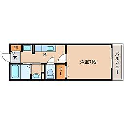 奈良県奈良市西大寺竜王町1丁目の賃貸アパートの間取り