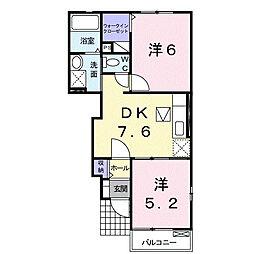広島県東広島市高屋町郷の賃貸アパートの間取り