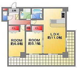 カスタリアタワー長堀橋[11階]の間取り