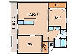 コーポ東3・5号棟[1階]の間取り