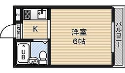 ジオナ柴島2 2階ワンルームの間取り