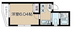 JR総武線 東中野駅 徒歩9分の賃貸マンション 2階1Kの間取り